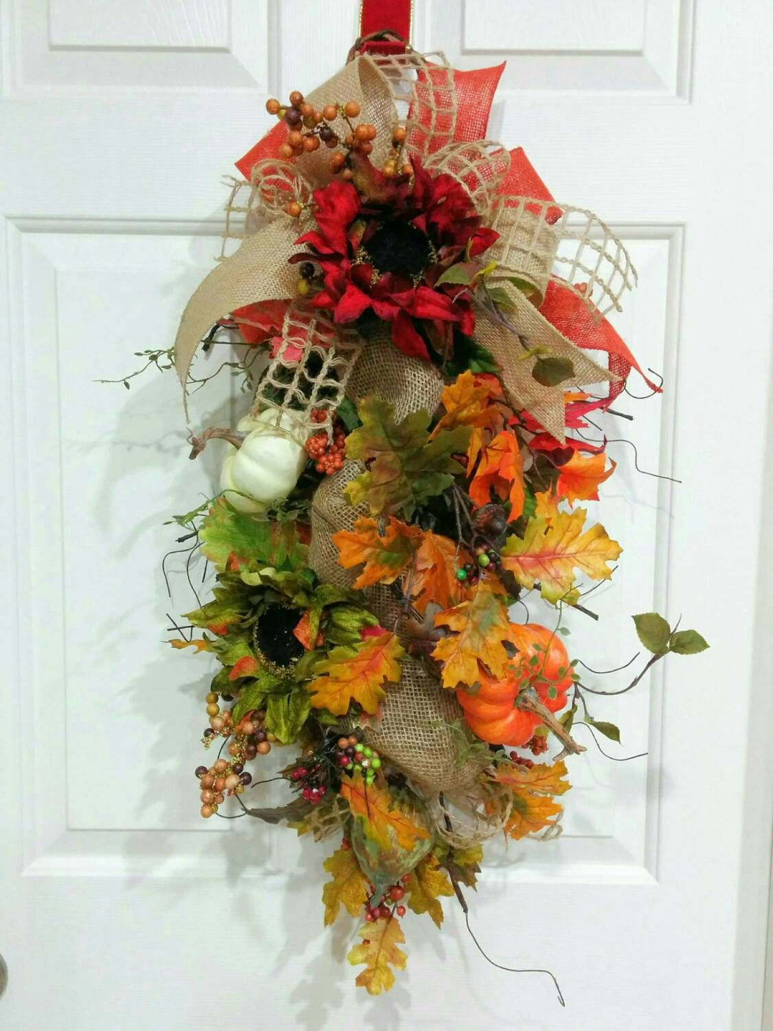 Fall Swag-Fall Sunflower and Burlup Swag-Berry Swag-Pumpkin Swag-Fall Wreath-Front Door WReath-Thanksgiving GIft-Housewarming GIft by WreathdesignsbyJulma on Etsy
