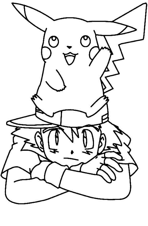 Pikachu Standing On Ash Ketchum Head On Pokemon Coloring Page Coloring Sky Pikachu Coloring Page Pokemon Coloring Pages Pokemon Coloring