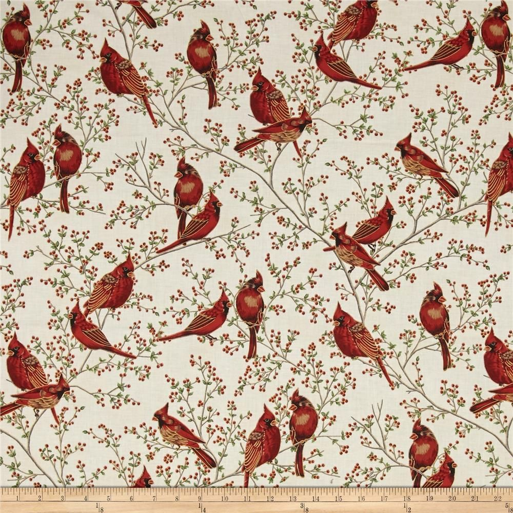Good Tidings Cardinals Natural/Gold from @fabricdotcom From Hoffman ...