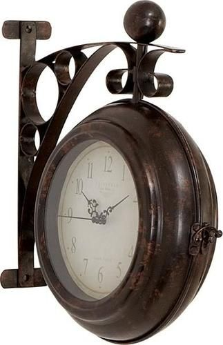 Train Station Metal Wall Double Sided Clock Two Face Antique Style Hanging Want