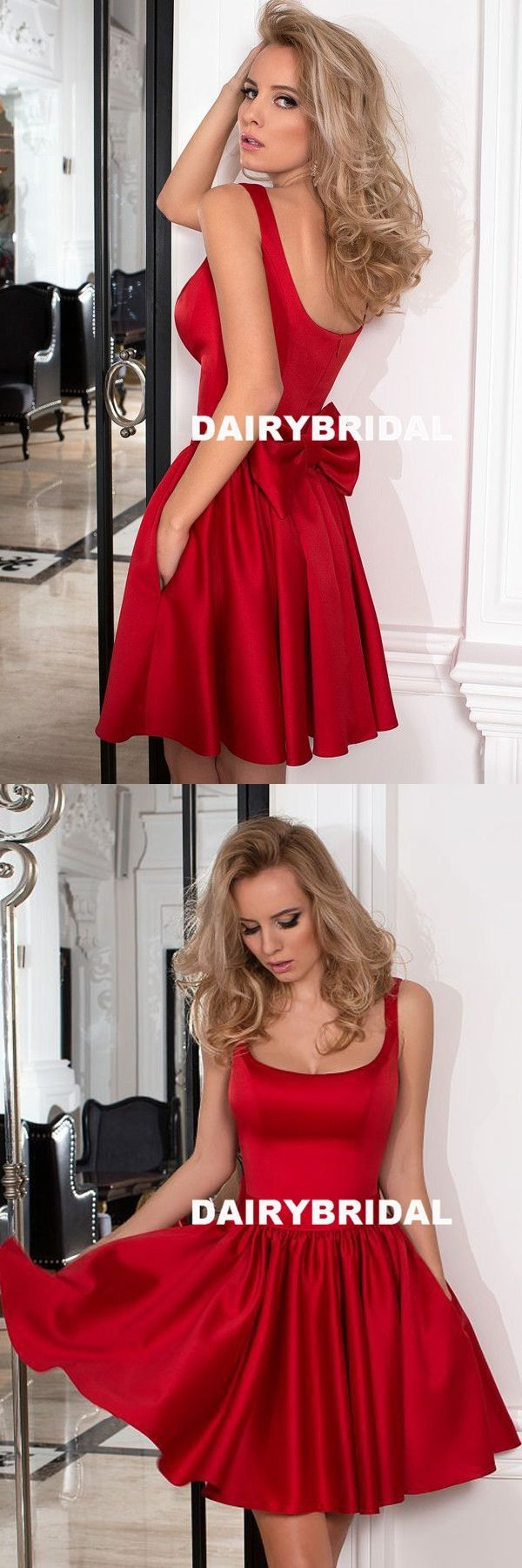Red Satin A-Line Homecoming Dress, Backless Short Homecoming Dress, D824 #shortbacklessdress