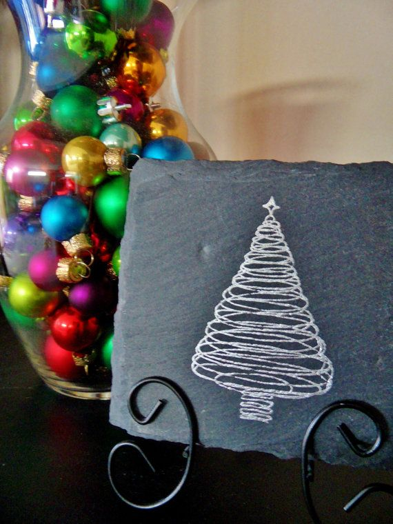 christmas tree slate plaque home decor