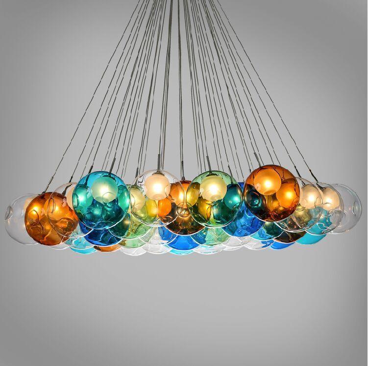 pas cher bricolage bulles color es verre moderne pendentif lampe maison ou de vacances. Black Bedroom Furniture Sets. Home Design Ideas