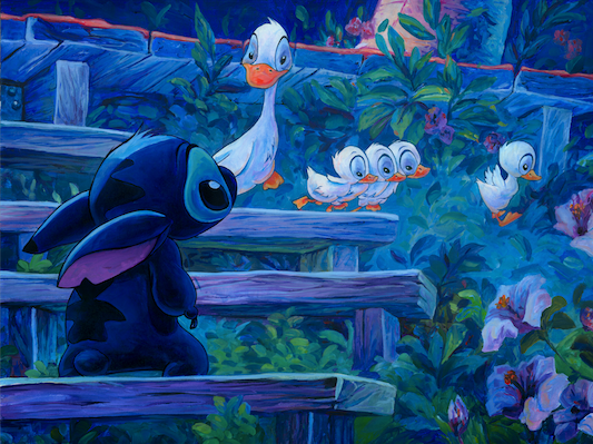 First Steps Stitch from Lilo and Stitch Giclee on Canvas by William Silvers