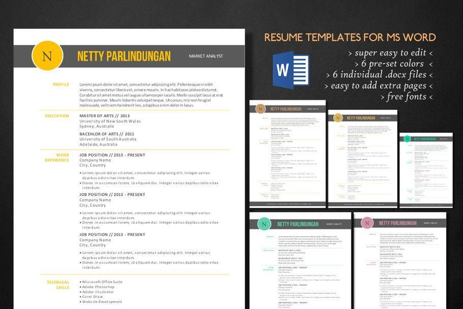 Clean 3 in 1 Word resume WordCleanresumeTemplates