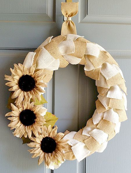 Photo of Fall Burlap Ribbon Wreath