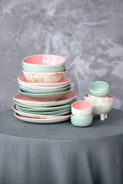 Simple Circle Ceramic Dish Set Consists Of Handmade Dinner Plate Mini Bowl Salad Bowl And Soup Bowl 4 Pieces For 1 Person Ceramic Dish Set Ceramic Dinner Set Ceramic Dishes
