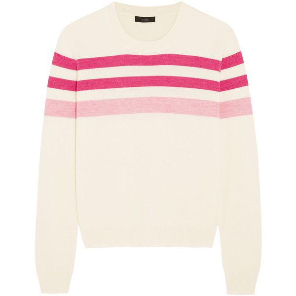 fd832d661 J.Crew Striped merino wool sweater ($96) ❤ liked on Polyvore featuring  tops, sweaters, pink, sweatshirt, crewneck shirts, white crew neck sweater,  ...