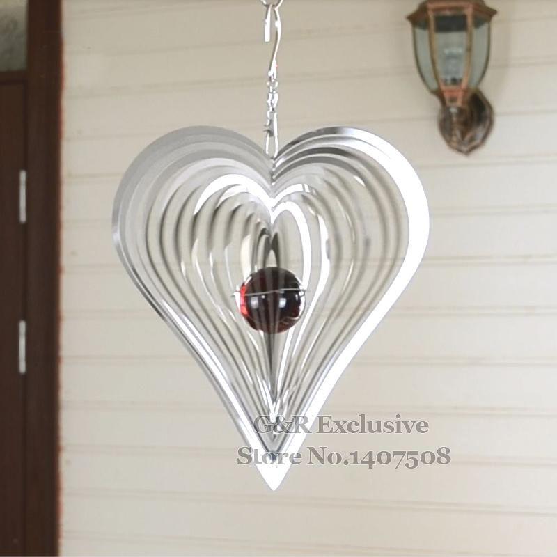 Metal Wind Spinner Home Decor Wind Chimes/ Bells Garden Decoration Heart  Shape 3D Ornaments Outdoor