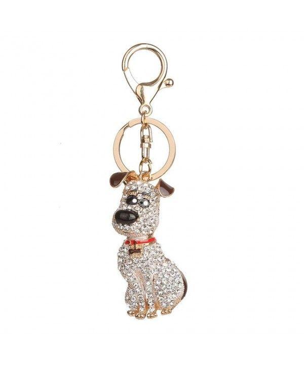 Fashion Rhinestone Dog Pendant Keychain Car Key Ring Holder Bag Charm Decor  - Coffee - CQ187R5A7DQ af7e50a57