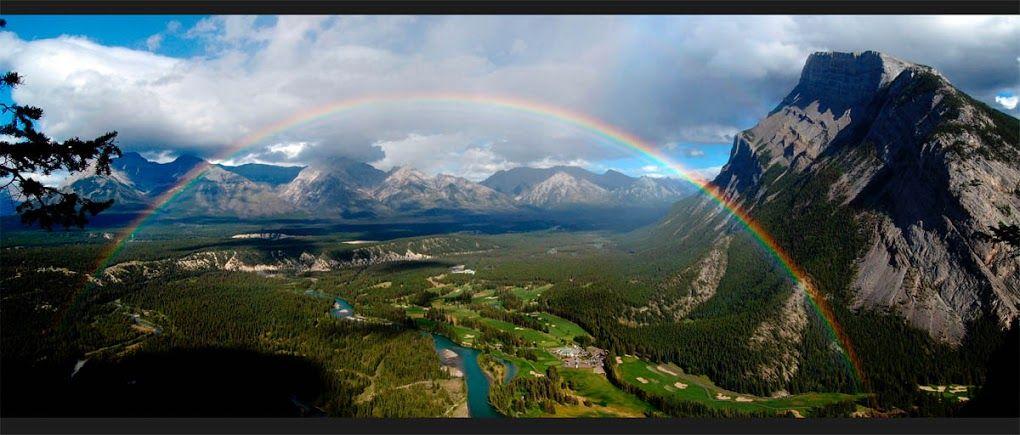 Mt. Rundle, Banff, Canada with  Rainbow