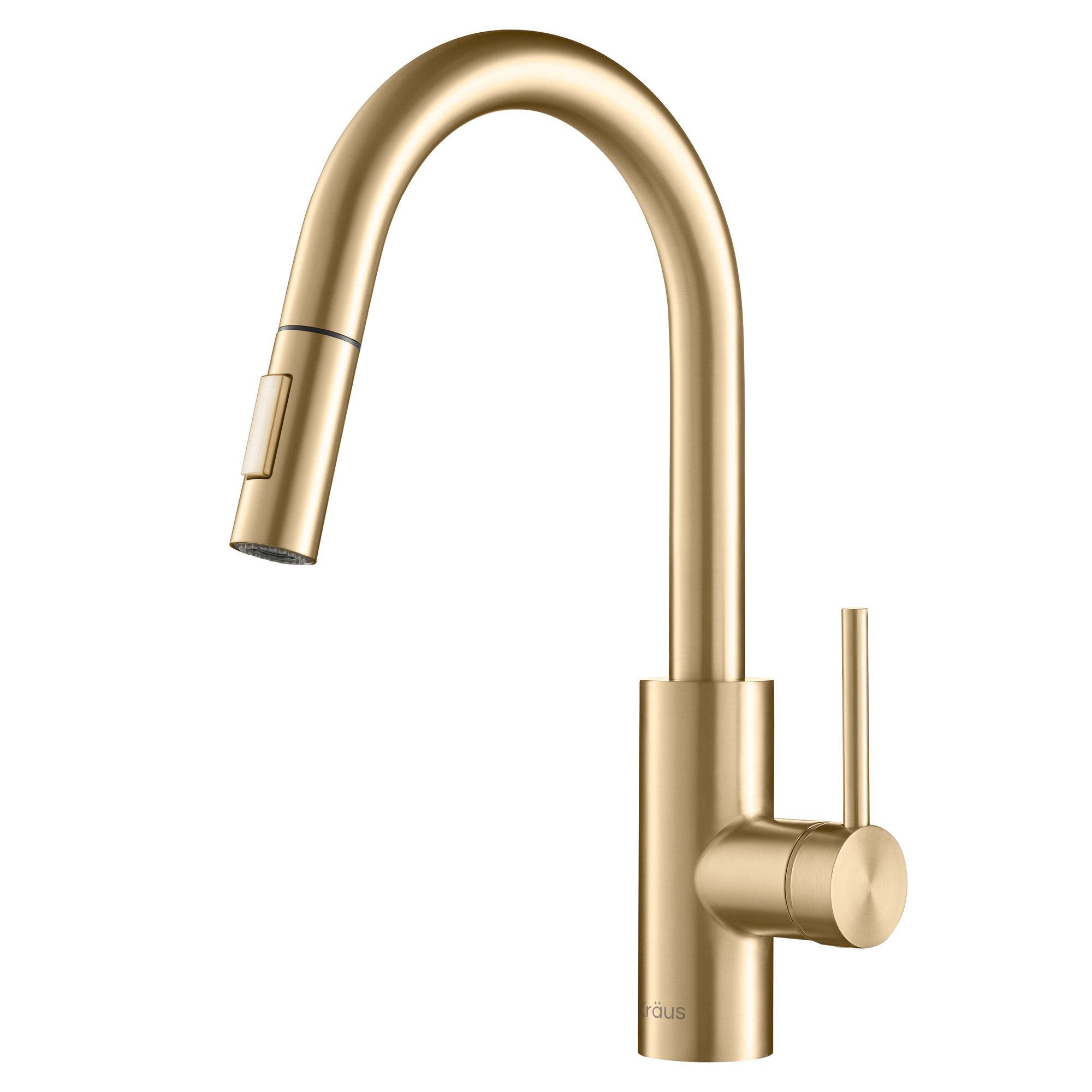 Kraus Oletto Single Handle Pull Down Kitchen Faucet In Gold Finish Walmart Com Kitchen Faucet Gold Kitchen Faucet Brass Kitchen Faucet