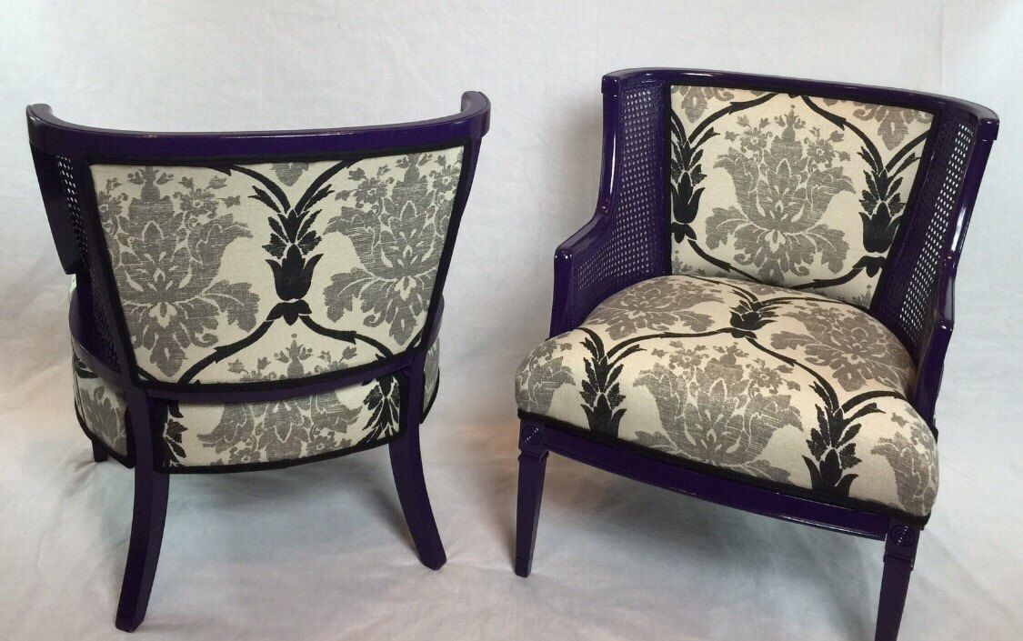 SOLD- Pair of Raised Back Cane Chairs with Grey Black and Cream ...