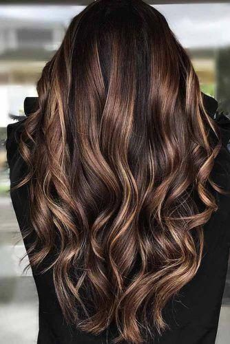 Dimensional Ideas Of Black Hair With Highlights And How To Make Them Real Brownhairbalayag Brown Hair Balayage Brunette Hair With Highlights Hair Highlights