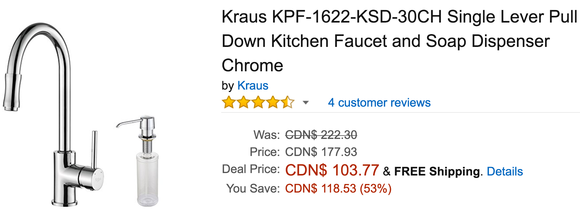 Amazon Canada Black Friday Todays Deals: Save 53% On Kraus Single ...