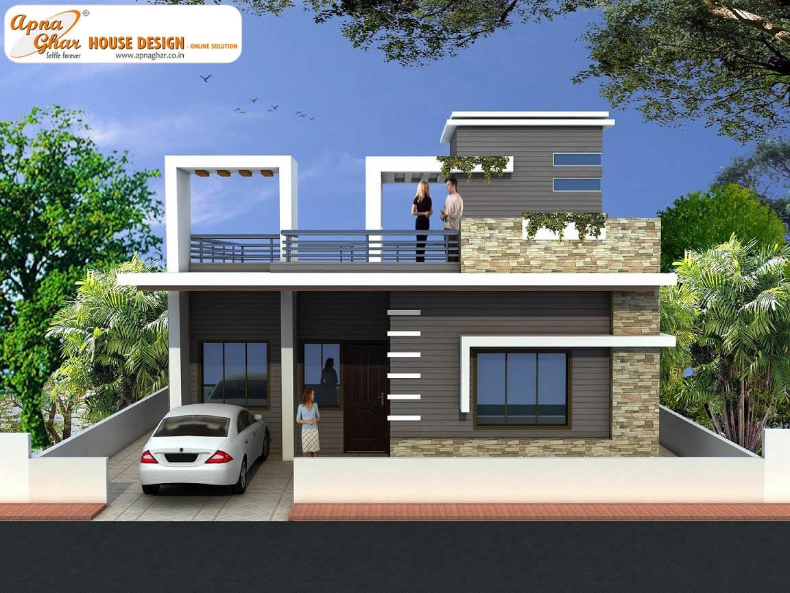 2 bedroom simplex 1 floor house design area 156m2 12m for Front elevations of duplex houses