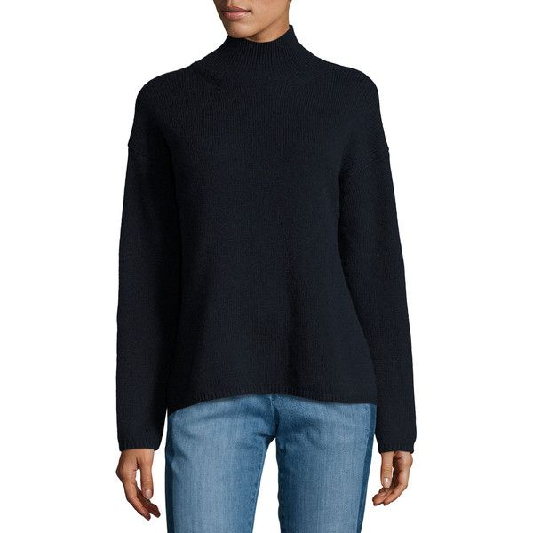 Vince Turtleneck Sweater ($345) ❤ liked on Polyvore featuring tops, sweaters, coastal, turtle neck top, long sleeve pullover sweater, turtle neck sweater, wool turtleneck sweater and ribbed turtleneck