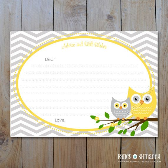 Owl Baby Shower Advice Card Instant Download Yellow And Grey
