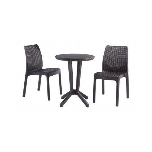 Outdoor Bistro Set 3 pcs Deck Patio Table and Chairs Pub Style Garden Furniture #Keter