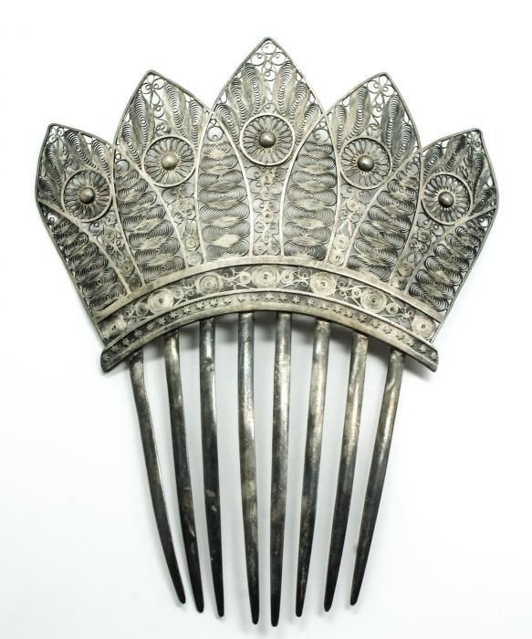 Exceptional Antique Victorian 19c Ornate 800 Silver Filigree Haircomb Comb #Unbranded