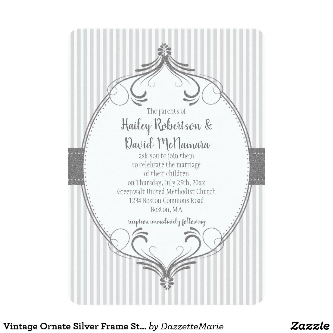 Vintage Ornate Silver Frame Stripes Wedding | Card #zazzle ...