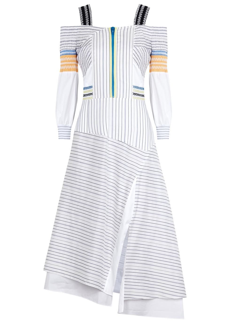 Peter pilotto white cotton and silk blend gown elasticated shoulder