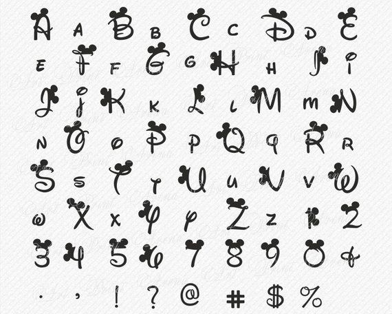 Disney SVG Schriftart Disney Alphabet SVG Ohren Svg Minnie