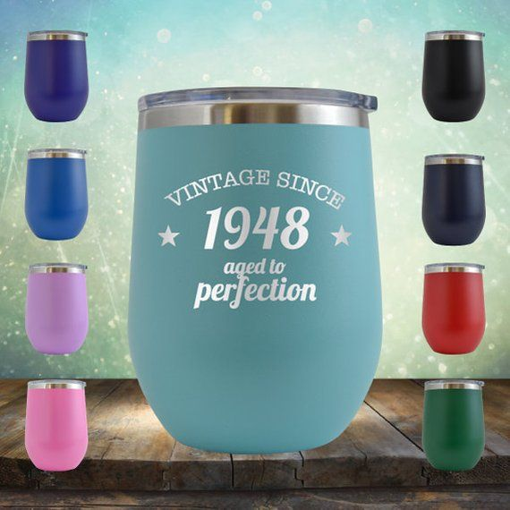 1948 70th Birthday Gifts For Women And Men 12 Oz Wine Glass Tumbler Cup