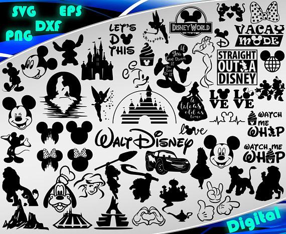 Disney svg Disney Clipart Disney silhouette stencil file cricut