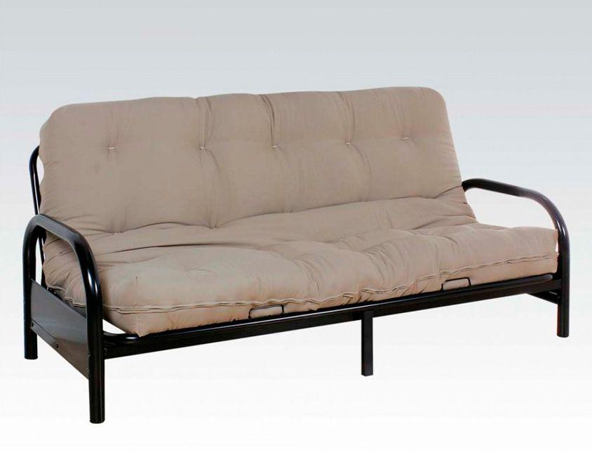 Futon Sofa Features A Black Metal Frame