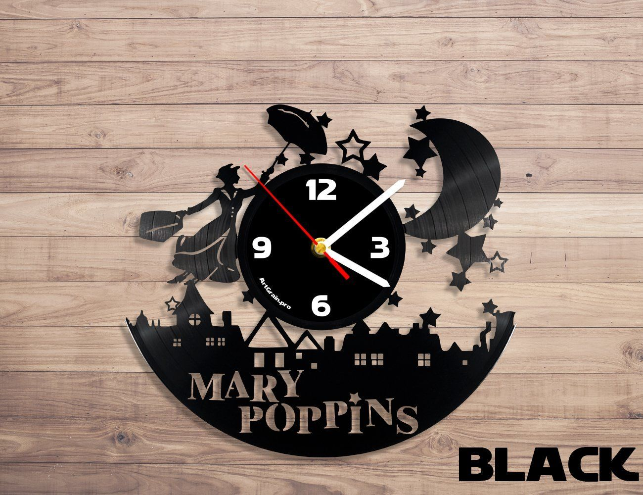 Amazon.com: Merry Poppins vinyl record wall clock: Home & Kitchen