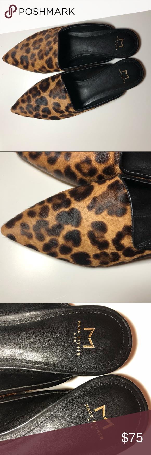 Marc Fisher Leopard Print Mules Size 7M