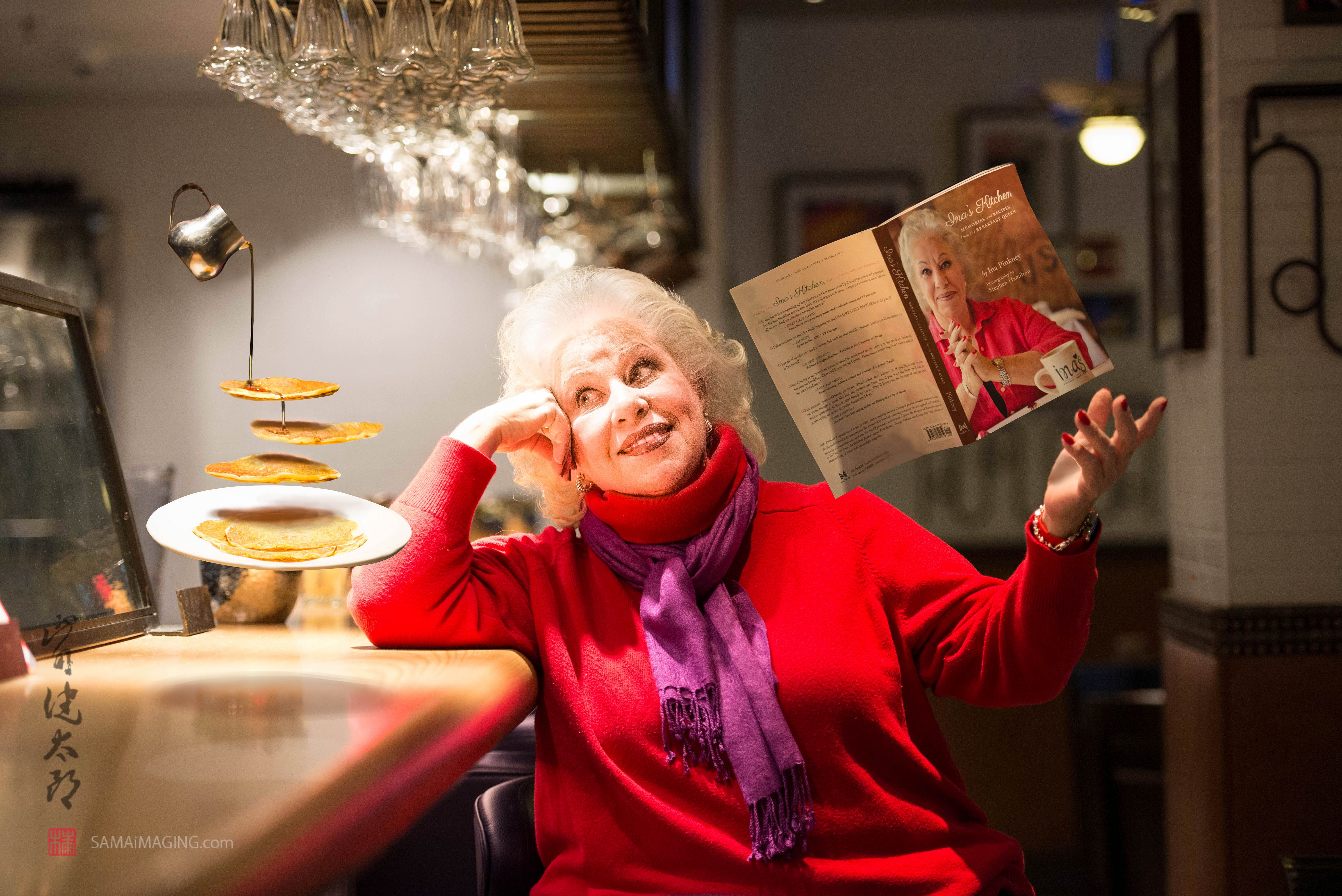 """Ina """"Breakfast Queen"""" Pinkney with her signature 'hotcakes' and her book levitated. More story, click."""