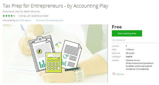 Coupon Udemy - Tax Prep for Entrepreneurs - by Accounting Play (Free) - Course Discounts & Free