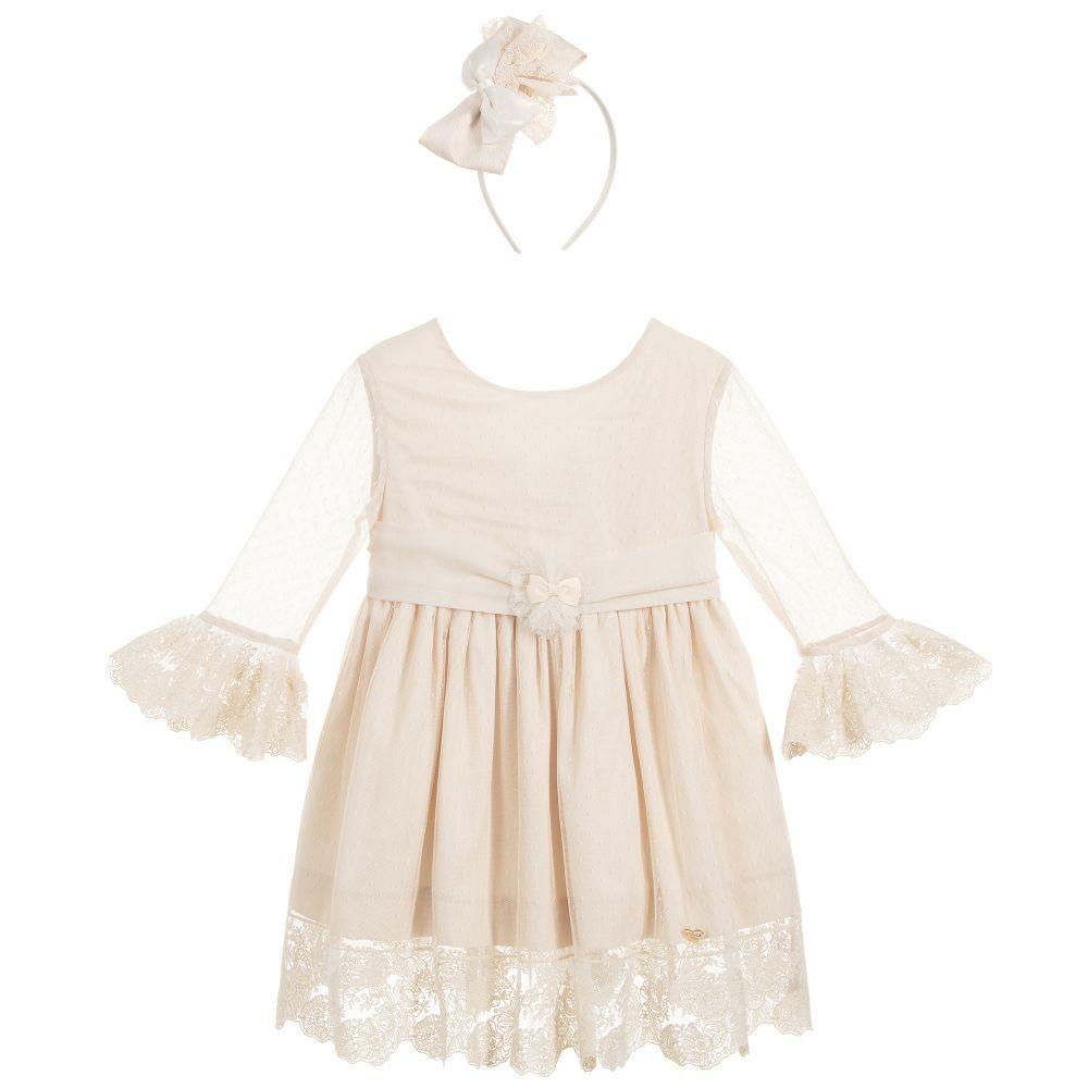 6e3f03f49 Girls beautiful dark ivory dress and headband, by Spanish brand Dolce Petit.  The dress