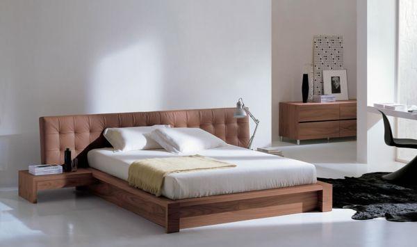 lampen schlafzimmer modern design weiß braunes bettkopf, Schlafzimmer entwurf