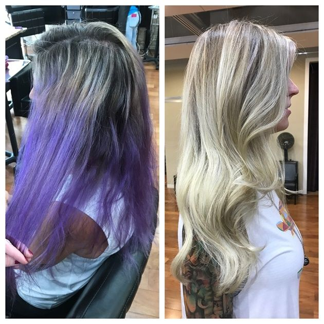 Transformation Diy Purple To Blonde Color Correction Color