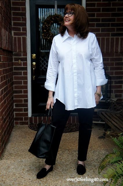 ae2b7d7465f over50feeling40 The perfect white shirt  artfulhome The Artist Smock Shirt   artfulhomestyle for Women over 50