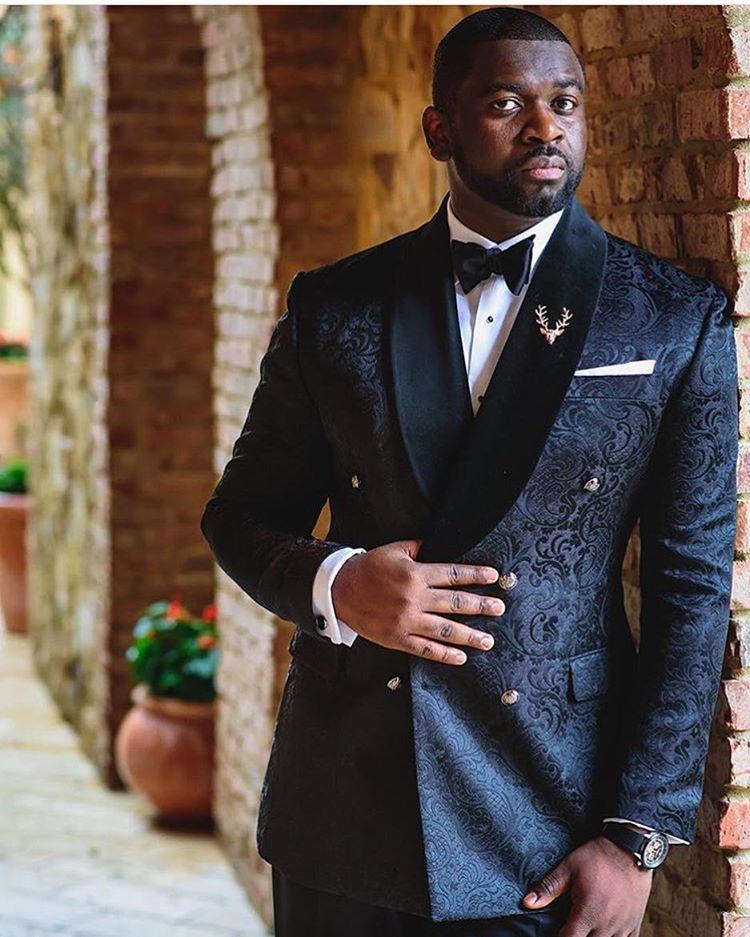 2017 Derni egrave re Manteau Pantalon Designs Motif Noir Ch acirc le Revers  Double Breasted hommes de Costume Slim Fit Costume De Bal Smoking 2  Pi egrave ce ... b7d804f869d