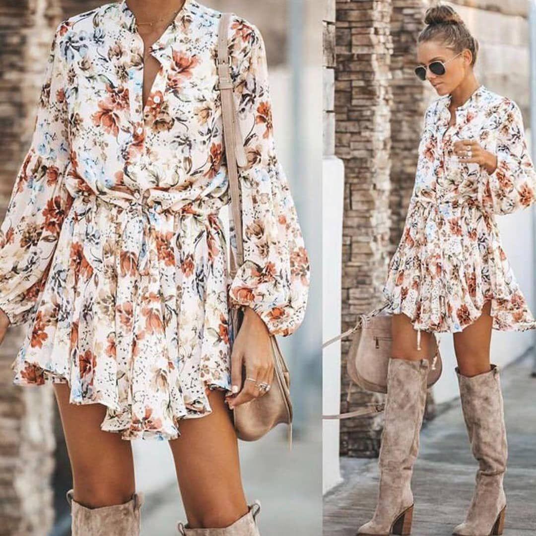 Zara Model Asimetrik Sifon Elbise Mini Dress Fashion Clothes Women Long Sleeve Boho Dress
