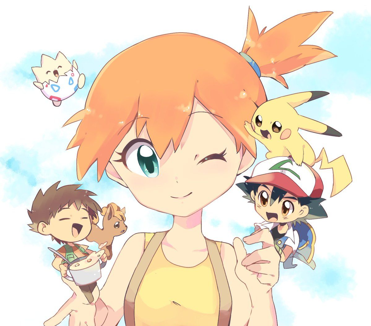 Too Cute Misty With Chibi Versions Of Ash Brock Pikachu Togepi