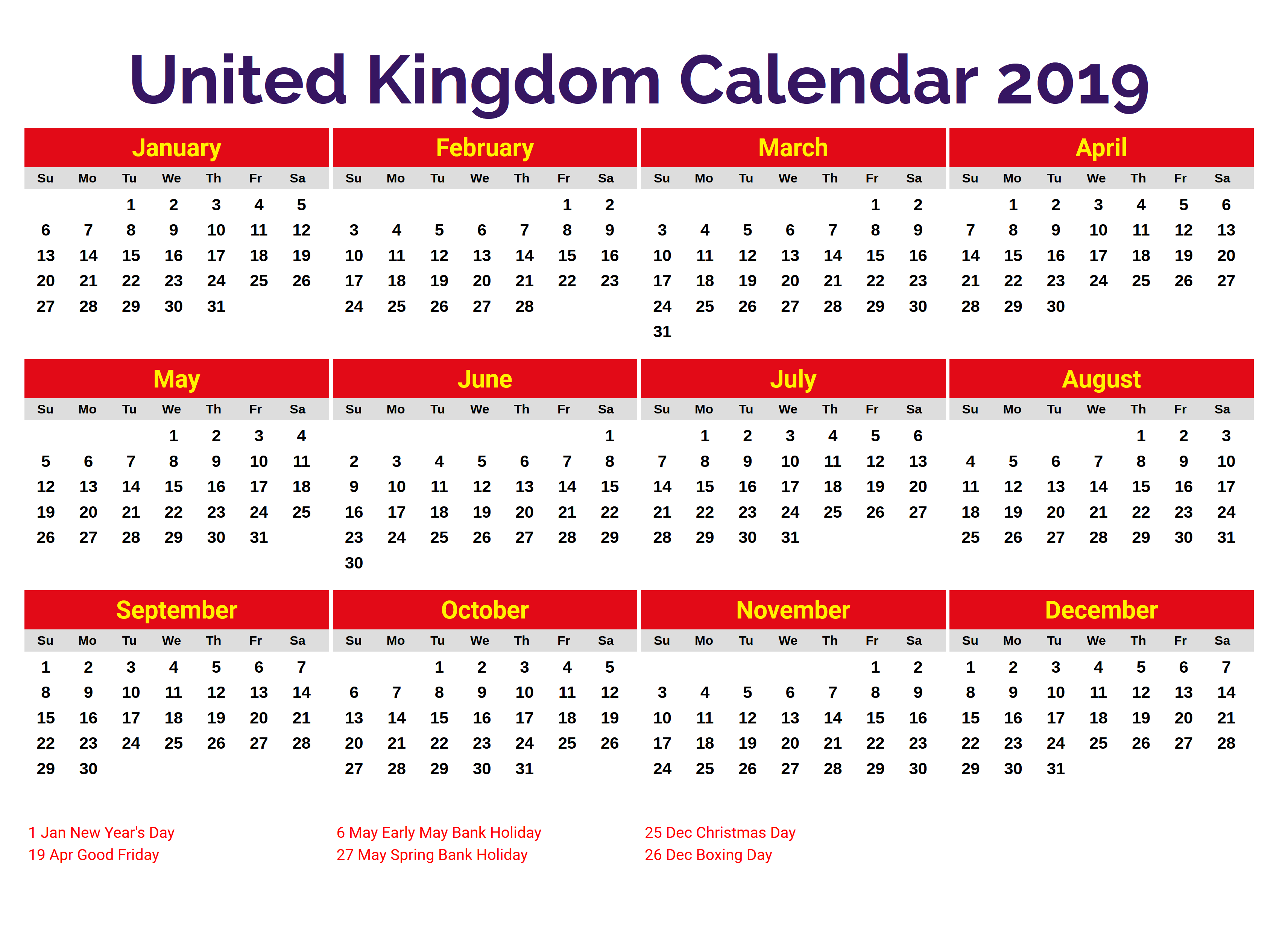 Uk Holidays Calendar 2019 Monthly Calendar Templates Pinterest