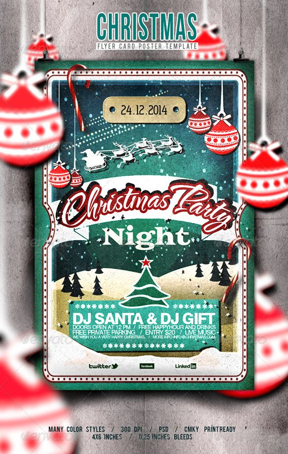 Christmas Flyer/Poster Retro Vol.7 — Photoshop PSD #invite #holiday • Available here → https://graphicriver.net/item/christmas-flyerposter-retro-vol7/6323604?ref=pxcr