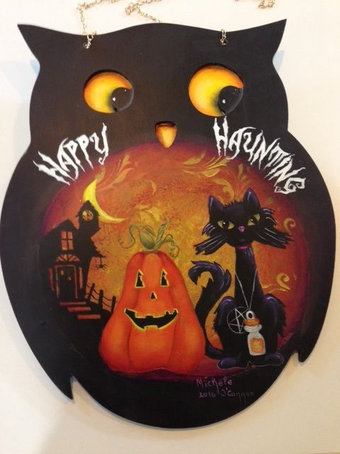 Owl chalk board from Target painted by Michele O\u0027Connor for Son