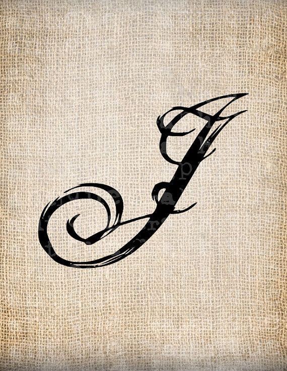 Letter J Tattoo : letter, tattoo, Antique, Letter, Script, Monogram, Digital, AntiqueGraphique,, 10.00, Tattoo,, Tattoo, Lettering,