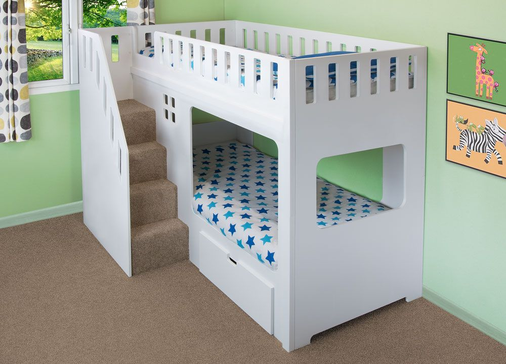 Deluxe Funtime High Sleeper Bunk Bed With Drawer Stairs Front