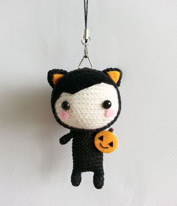 Crochet Cat Halloween, Black Cat Halloween Doll, Halloween Decor ...