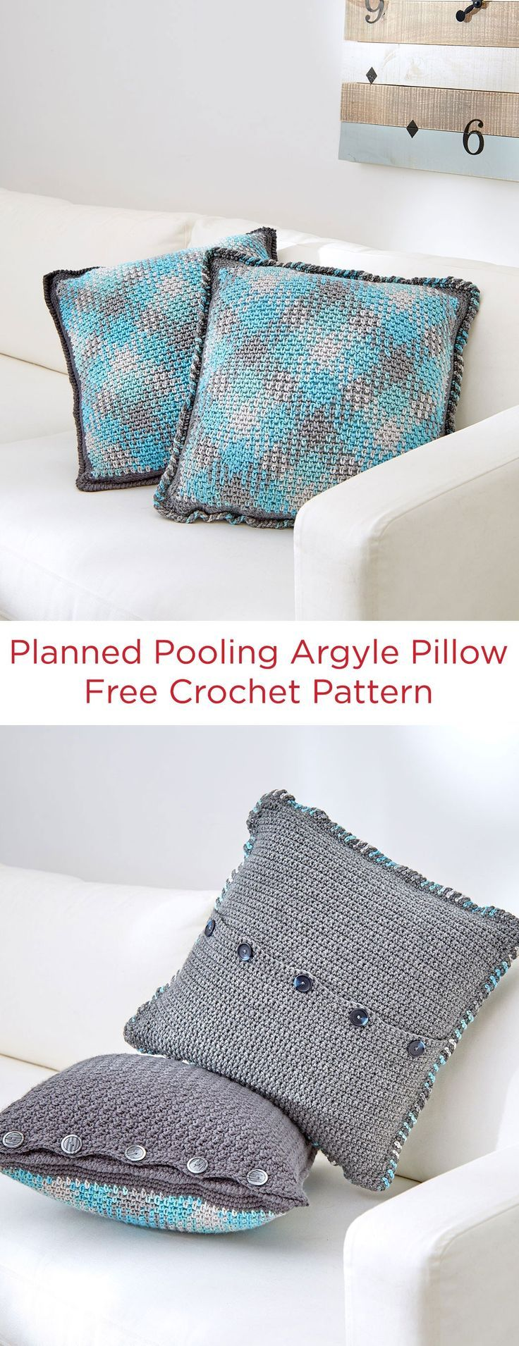Planned Pooling Argyle Pillow Free Crochet Pattern in Red Heart ...