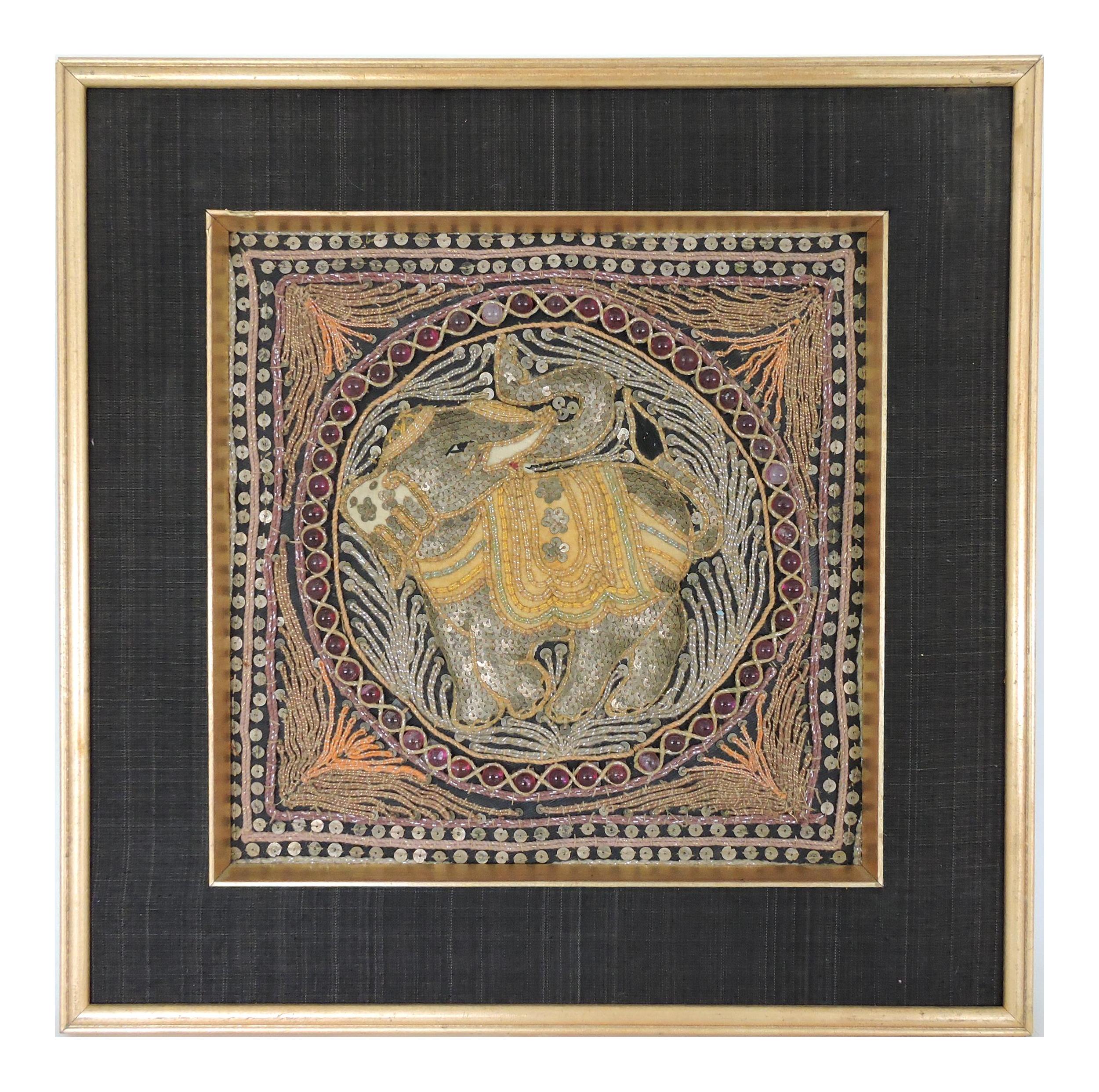 Embroidered Tapestry Framed Vintage Tapestry Hand-Sewn  Tapestry with Golden Frame Tapestry Wall Decoration,