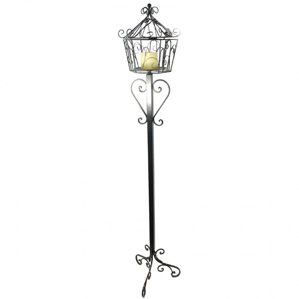 x metal candle holder wrought iron floor standing candle